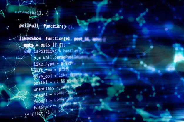 Prowadzenie danych komputerowych / programowanie www. funkcje programowania internetowego na laptopie na laptopie. biznes it. ekran komputera z kodem pythona. koncepcja projektowania aplikacji mobilnych.