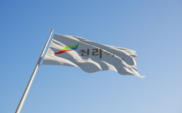 Prowincja północna jeolla flaga korei niski kąt. grafika 3d