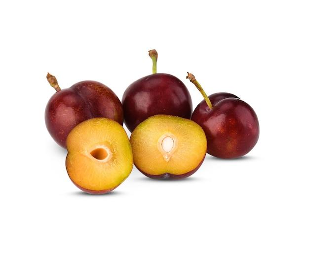 Prunus domestica, śliwki, owoce na białym tle
