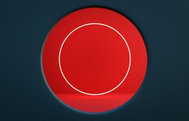 Pruska niebieska ściana z okrągłym oknem z czerwoną ścianą i okrągłym oświetleniem wewnątrz. fotorealistyczne renderowanie 3d.