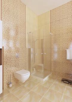 Prysznic i toaleta w łazience są żółte. renderowanie 3d