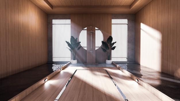 Prysznic w japońskiej łazience ma boczny pokój z basenem