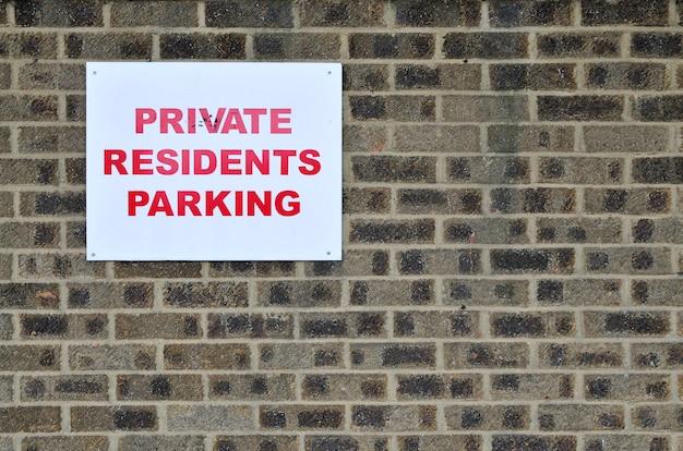 Prywatni rezydenci parkują podpisują wewnątrz zjednoczone królestwo
