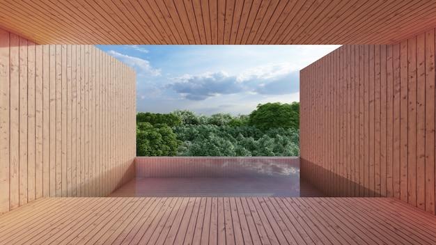 Prywatny basen, widok z pokoju, drewniany styl