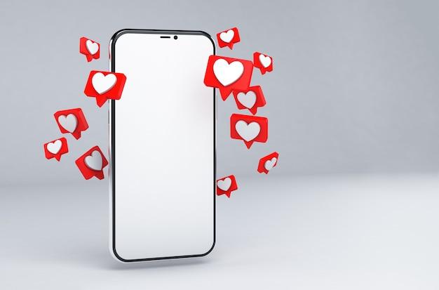 Przechodzi smartfon z ikonami serca i pustym ekranem