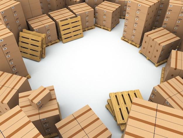 Przechowywanie pudełka kartonowe na palecie miejsce na tekst 3d