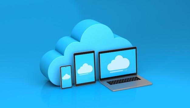 Przechowywanie w chmurze na telefon, tablet, laptop. niebieskie tło. renderowania 3d.