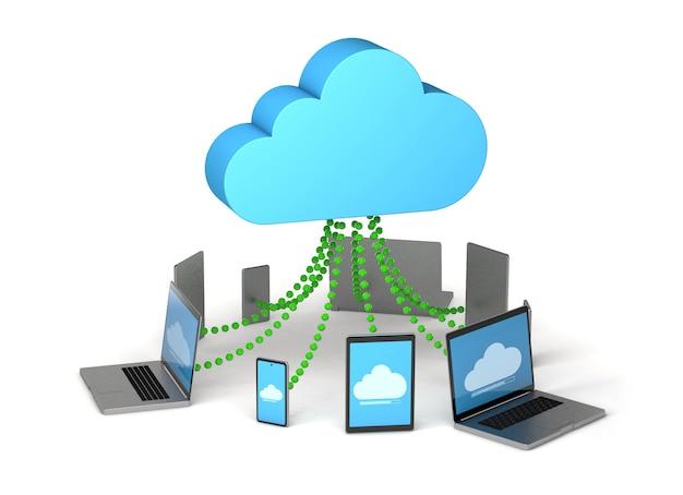 Przechowywanie w chmurze synchronizacja informacji na tablecie telefonicznym i laptopie na białym tle