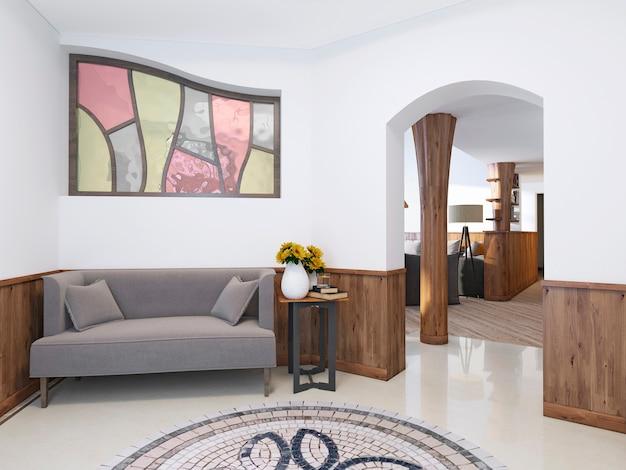 Przedpokój domu w stylu loftowym z wysokim sufitem z oświetleniem