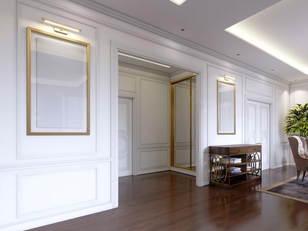Przedpokój w stylu klasycznym z białymi ścianami i zabudowaną szafą przesuwną ze złotą ramą. renderowanie 3d
