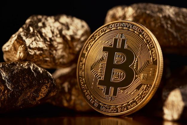 Przedstawiony złoty bitcoin jako główna cyfrowa waluta na świecie