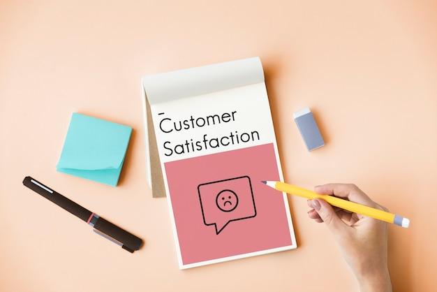 Przegląd ocena satysfakcja obsługa klienta ikona znaku opinii