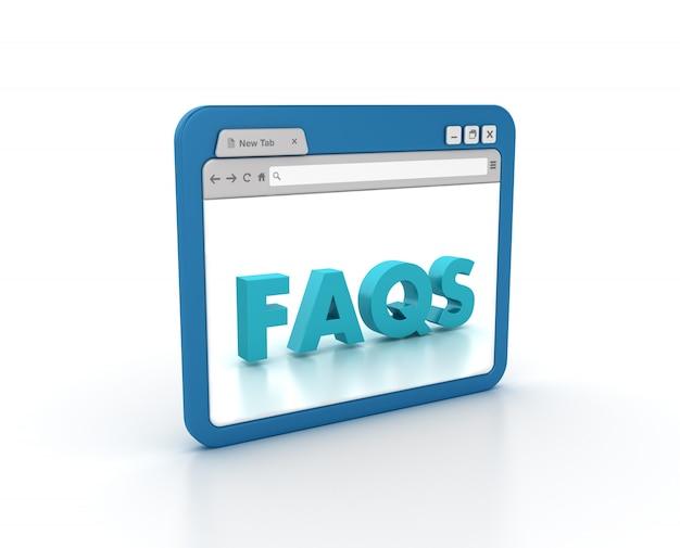 Przeglądarka internetowa ze słowem faqs