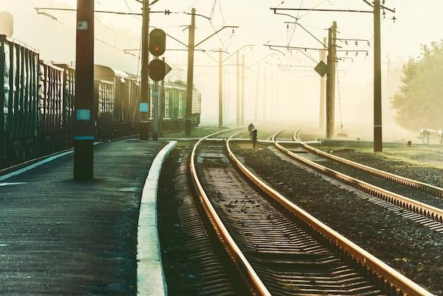 Przejazd kolejowy i pociąg w porannej mgle, krajobraz przemysłowy vintage