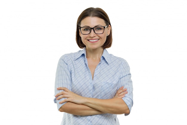 Przekonana, uśmiechnięta kobieta skrzyżowane ramiona, przedsiębiorców, specjalista, ekspert