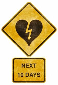 Przekraczania znak drogowy serce grunge dotknięty