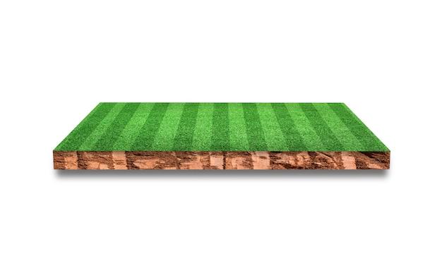 Przekrój gleby z boisko do piłki nożnej trawy pojedynczo na białym