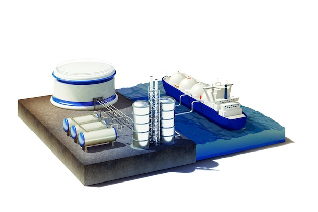Przekrój morza z tankowcem w porcie