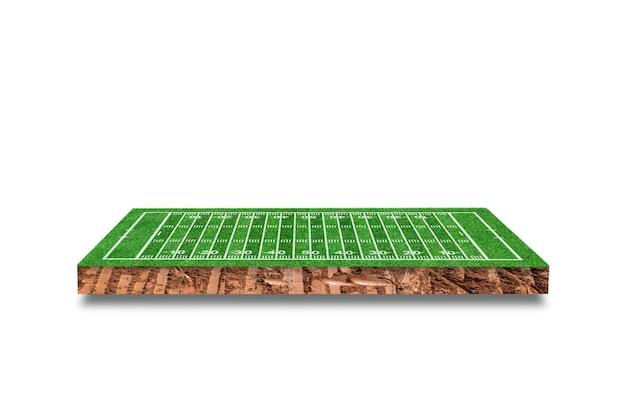 Przekrój sześcienny gleby z boiska do futbolu amerykańskiego na białym tle. renderowanie 3d.