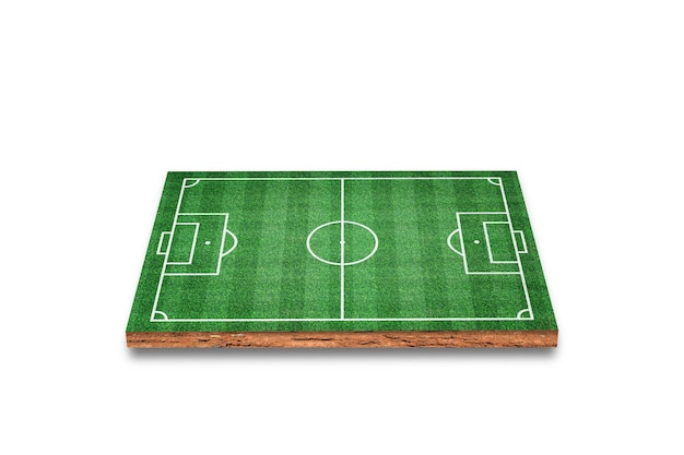 Przekrój sześcienny gleby z boiskiem do piłki nożnej, zielona trawa, na białym tle