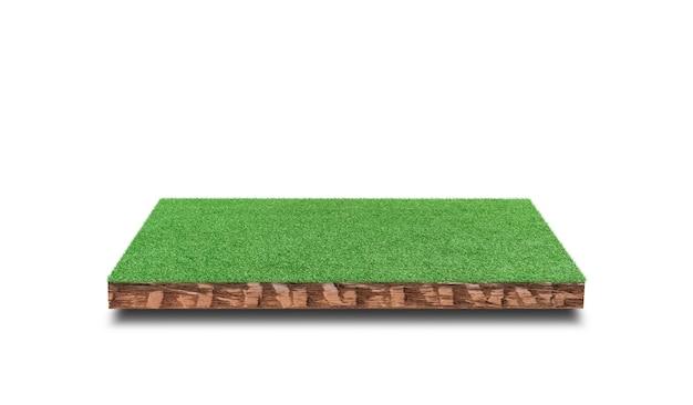 Przekrój sześcienny gleby z pola zielona trawa na białym tle.
