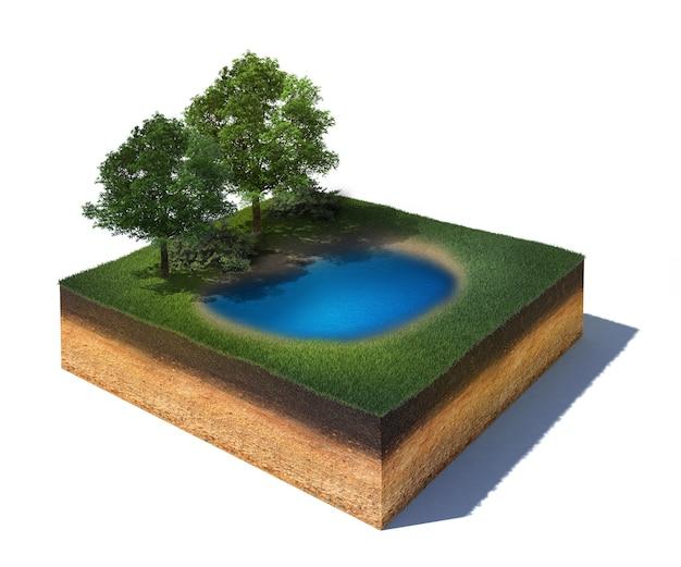 Przekrój terenu ze stawem i drzewami parkowymi