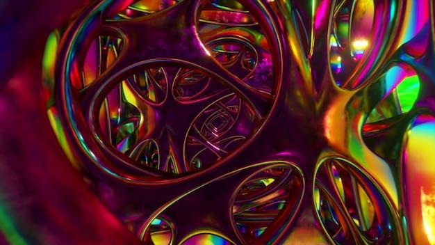 Przelatując przez abstrakcyjną obcą strukturę oświetloną neonami. nowoczesne oświetlenie ultrafioletowe.