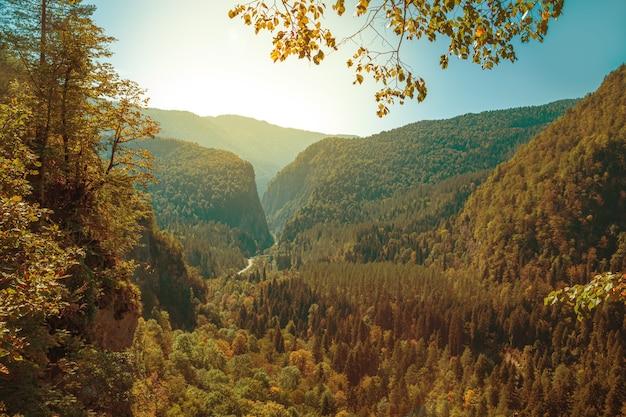 Przełęcz pyv w abchazji. wspaniały jesienny krajobraz. alpejskie łąki. auadhara.