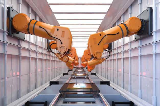 Przemysł automatyki z linią montażową robota w fabryce
