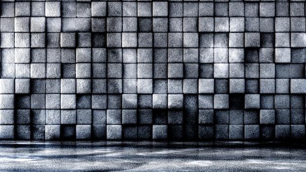Przemysłowe, kamienne, tekstura tło grunge z geometrią. 3d ilustracji