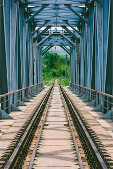 Przemysłowy krajobraz z mostem kolejowym na wiosnę lub letni dzień