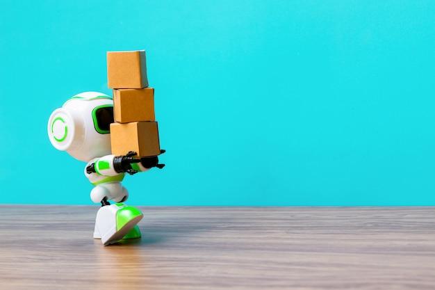 Przemysłowy robot zajmujący się produkcją pudeł lub robotów pracujących zamiast ludzi