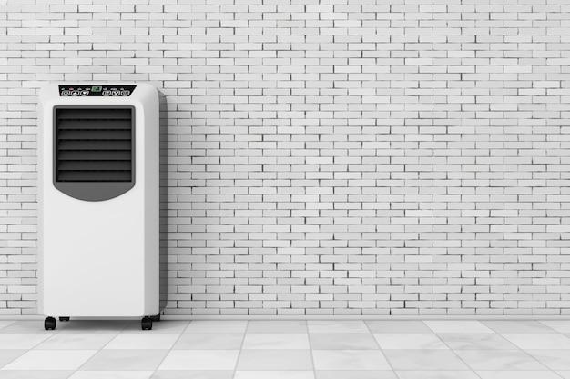 Przenośny klimatyzator do pomieszczeń mobilnych przed ceglaną ścianą. renderowanie 3d.