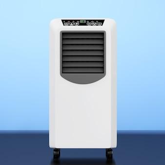 Przenośny klimatyzator mobilny na niebieskim tle. renderowanie 3d.