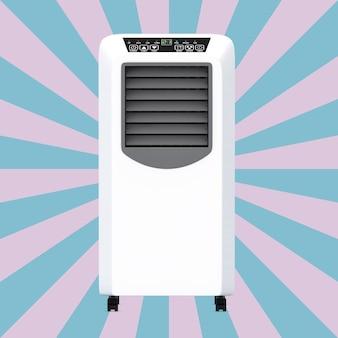 Przenośny klimatyzator mobilny na różowym i niebieskim tle vintage star shape. renderowanie 3d