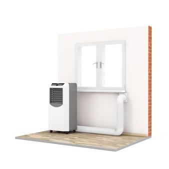 Przenośny klimatyzator pokojowy z wężem podłączonym do okna w pokoju na białym tle. renderowanie 3d.