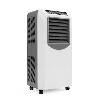 Przenośny klimatyzator w pokoju mobilnym na białym tle. renderowanie 3d.