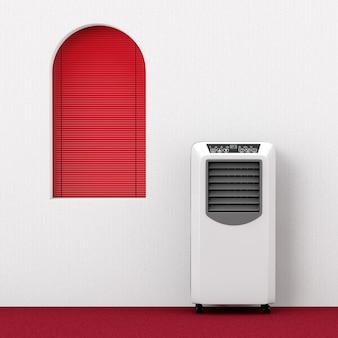 Przenośny mobilny klimatyzator pokojowy w pobliżu ekstremalnego zbliżenia czerwonego okna. renderowanie 3d