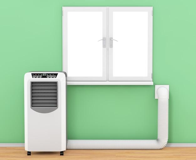 Przenośny mobilny klimatyzator pokojowy z wężem podłączonym do okna w pokoju ekstremalne zbliżenie. renderowanie 3d.