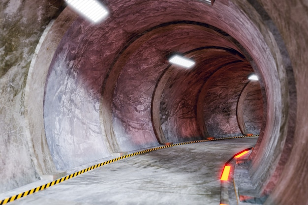 Przenoszenie produktów tunel i tunel naukowy, renderowanie ilustracji 3d