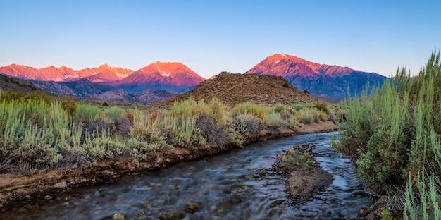 Przepiękna sceneria rzeki otoczonej krzewami i górami