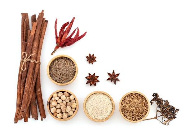 Przepis na mala chili i składniki takie jak suszone chili, biały sezam, nasiona kolendry, kminek, kardamon, anyż, cynamon i pieprz syczuański.