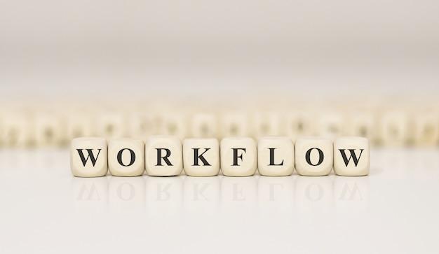 Przepływ pracy w programie word wykonany z drewnianych klocków