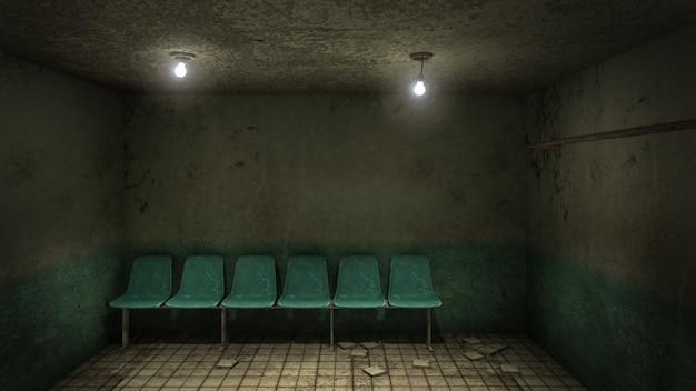 Przerażająca i przerażająca poczekalnia w szpitalu