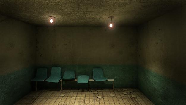 Przerażające i przerażające siedzenie czeka przed gabinetem w renderowaniu 3d szpitala