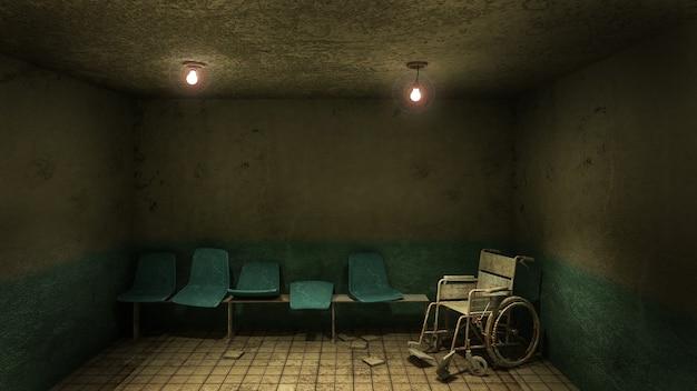 Przerażające i przerażające siedzenie i wózek inwalidzki przed gabinetem w szpitalu.