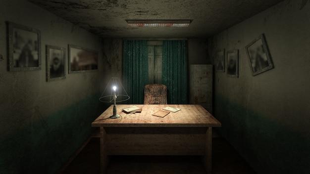 Przerażający i przerażający pokój do pracy w szpitalu. renderowanie 3d