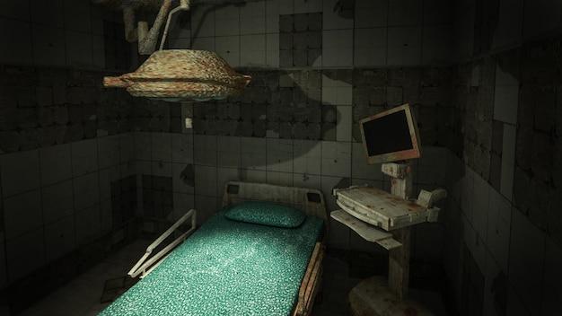 Przerażenie i przerażająca opuszczona sala operacyjna w szpitalu. renderowanie 3d