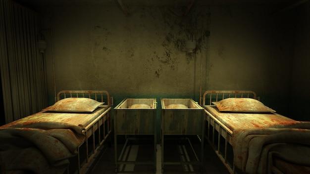 Przerażenie i przerażająca sala w szpitalnym renderowaniu 3d