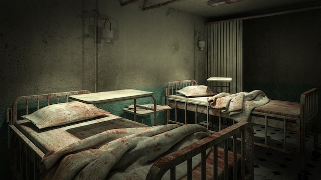 Przerażenie i straszna sala w szpitalu z krwią